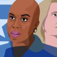 Logo of the podcast Ayanna Pressley and Abigail Spanberger on the Rift in the Democratic Party