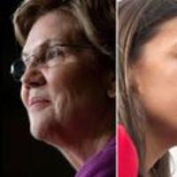 Logo of the podcast Alexandria Ocasio-Cortez and Elizabeth Warren