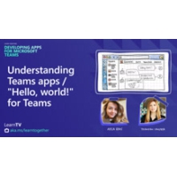 "Logo of the podcast Understanding Teams apps...""Hello, world!"" for Teams 