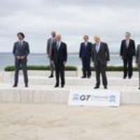 Logo of the podcast Vaccine Diplomacy on Display at the G7 Summit 2021-06-14
