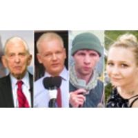 Logo of the podcast Daniel Ellsberg on Whistleblowers Julian Assange, Daniel Hale, Reality Winner, Ed Snowden & Others