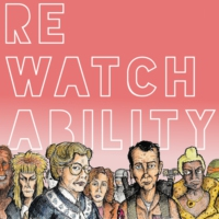 Logo of the podcast Rewatchability is a Podcast.