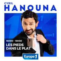 "Logo du podcast Cyril Hanouna en mode ""série noire"""