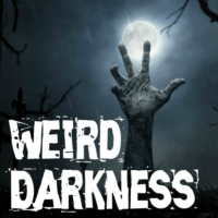 "Logo of the podcast ""TRUE TALES OF PEOPLE WAKING UP IN THE MORGUE"" and More Terrifying True Stories! #WeirdDarkness"