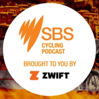 "Logo du podcast Zwift SBS Cycling Podcast: Stage 8 - Alaphilippe ""There is no better feeling than getting that jers…"