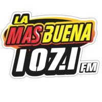 Logo de la radio La Más Buena 107.1 FM