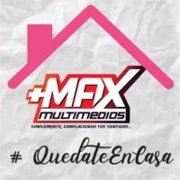 """Logo de la radio Max FM """"Simplemente Complaciendo Tus Sentidos"""""""