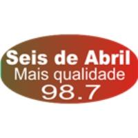 Logo of radio station Rádio 6 de Abril FM 98.7 FM Cruz