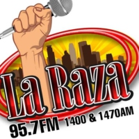 Logo de la radio KMNQ La Raza 95.7 FM