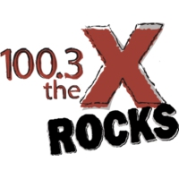 Logo of radio station KQXR 100.3 The X Rocks